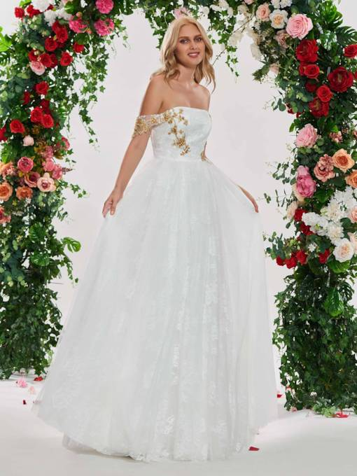 Off the Shoulder Beading Appliques Lace Wedding Dress