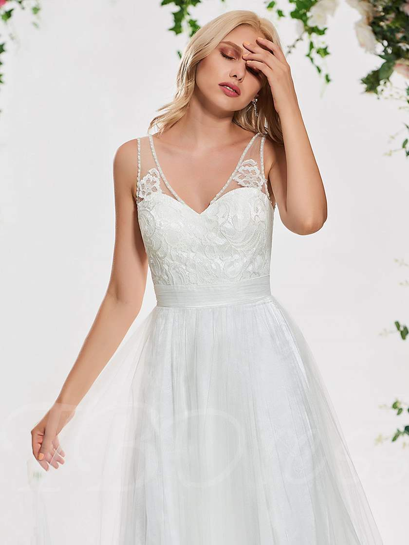 Beading Straps Lace Coutry Wedding Dress