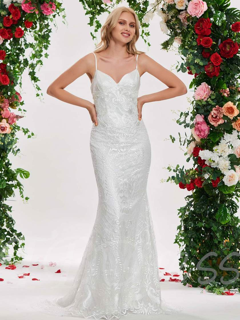 Straps Mermaid Lace Wedding Dress with Jacket