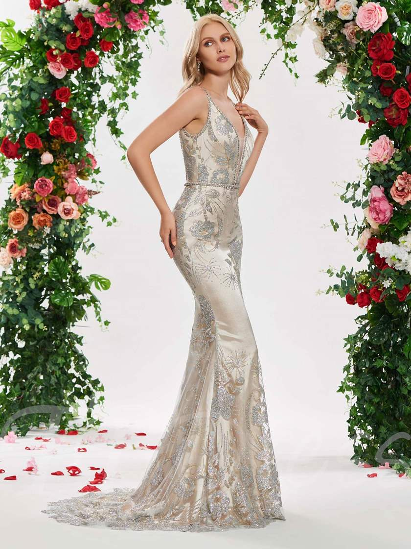 robe de mariée à sequins profonds