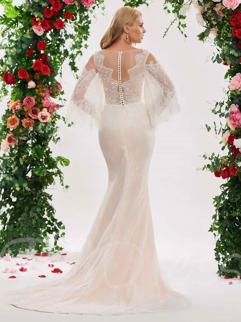 Illusion Neck Lace Wedding Dress with Long Sleeve