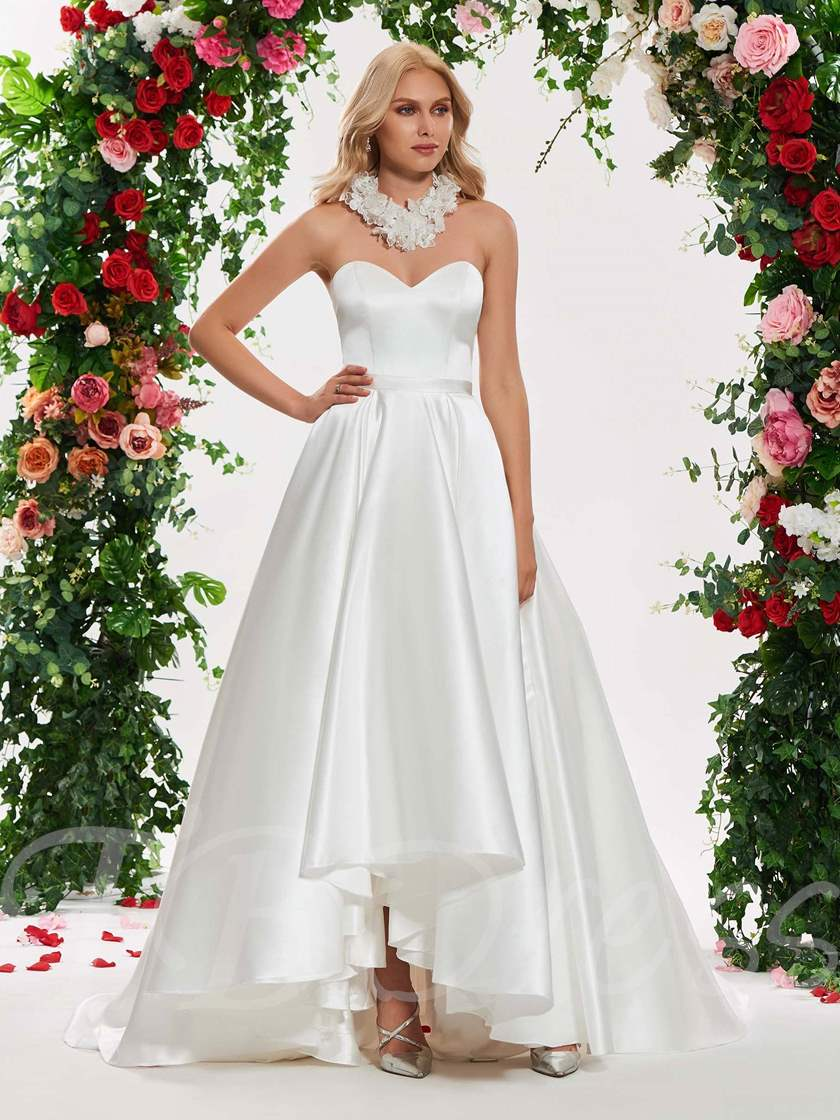 Sweetheart High Low Wedding Dress with Flowers Necklace