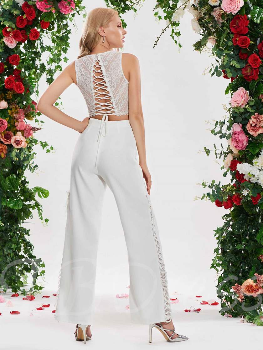 Lace Top Two Pieces Wedding Pantsuits