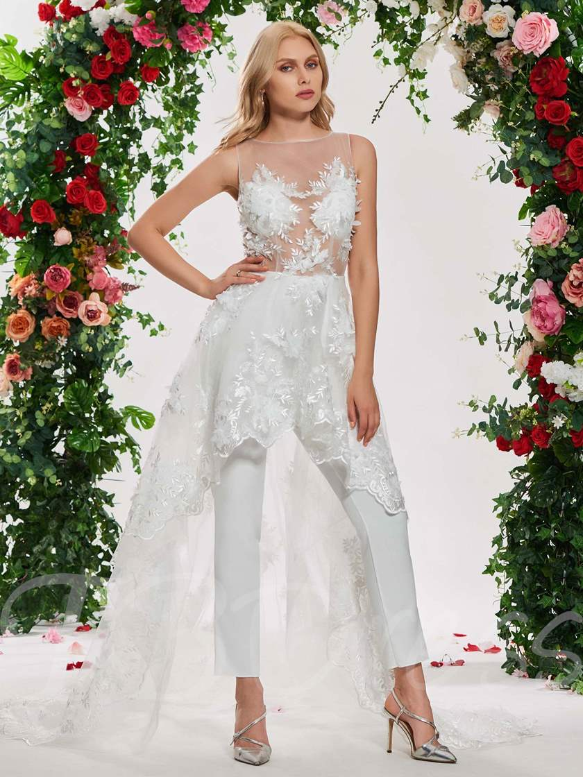 Illusion Neck Appliques Wedding Jumpsuits with Wattain Train