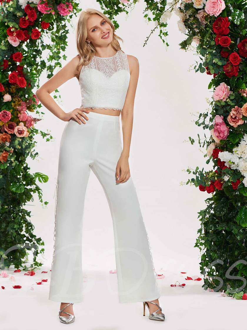 Lace Top Two Pieces Wedding Jumpsuits