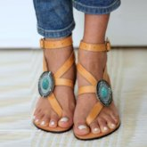 Thong Bead Buckle Flat Sandals