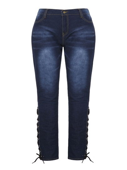 Plus Size High Waist Denim Lace-Up Womens Jeans 13389898