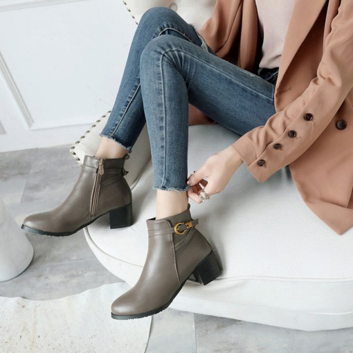 Round Toe Side Zipper Chunky Heel Buckle Classical Women's Ankle Boots