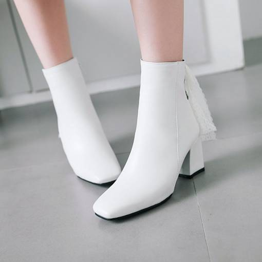 Square Toe Side Zipper Lace Riding Boots for Women