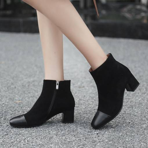 Square Toe Suede Patchwork Chunky Heel Stylish Women's Ankle Boots