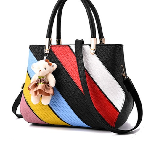 Duffle Striped Color Block Women Tote Bag