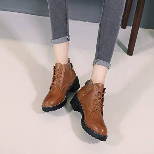Round Toe Chunky Heel Cross Strap Buckle Ankle Martin Boots