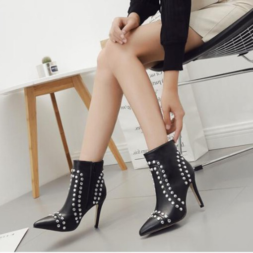 Pointed Toe Side Zipper Beads Decorated Women's Ankle Boots