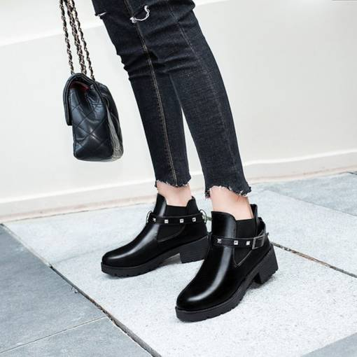 Round Toe Rivet Buckle Elastic Chelsea Ankle Boots for Women