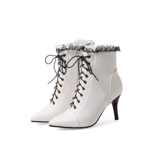 Pointed Toe Side Zipper Cross Strap Lace Chic Women's Ankle Boots