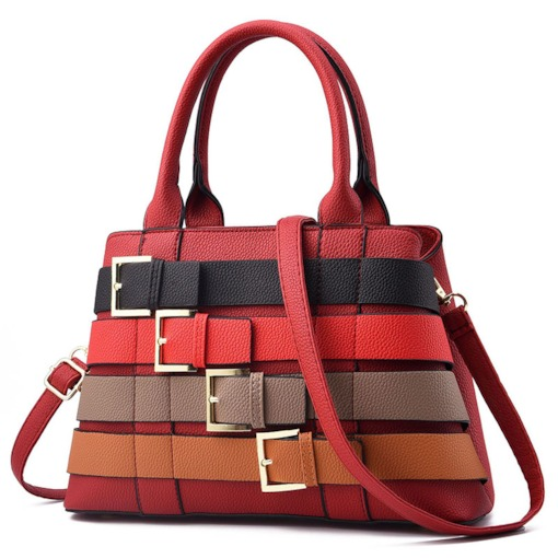 Fashion Belt Decorated Stripe Women Tote Bag