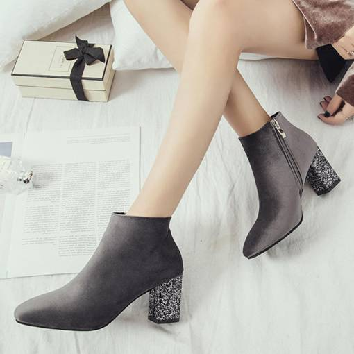 Square Toe Side Zipper Sequin Chunky Heel Women's Ankle Boots