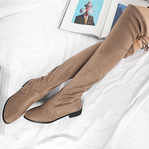 Lace-Up Back Suede Block Heel Women's Knee High Boots