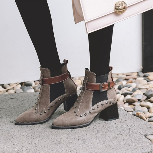 Pointed Toe Hasp Patchwork Chunky Heel Rivet Women's Martin Boots