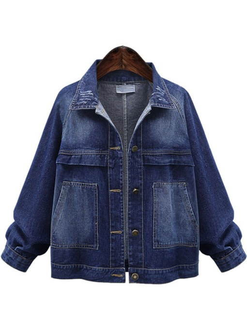 Dual Pocket Button Down Plus Size Women's Denim Jacket