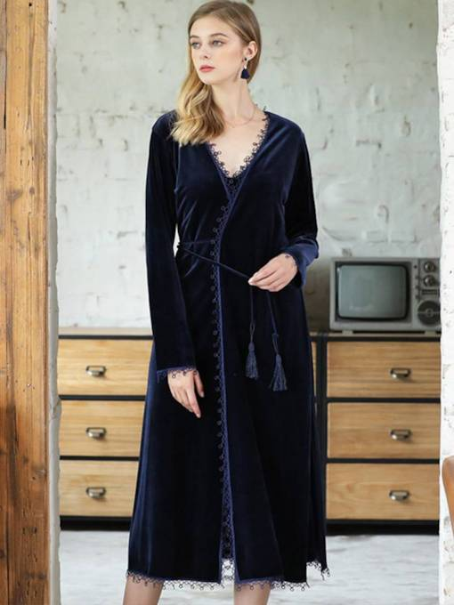 Women's Gold Velvet Long Lace-Up Nightgown