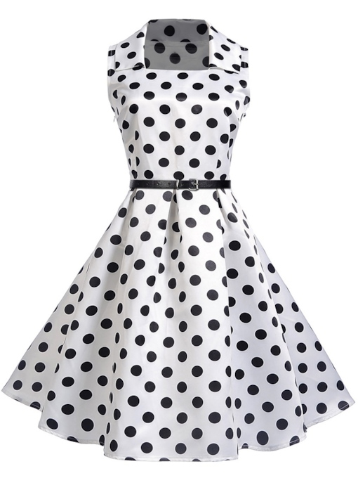 Square Neck Polka Dots High Waist Dress