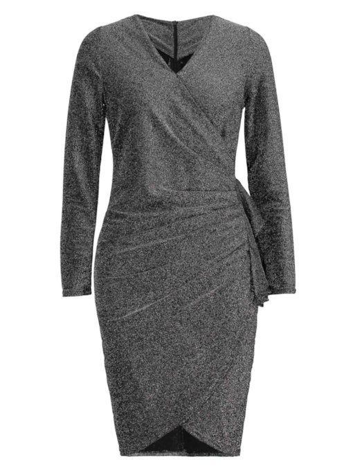 Sequins V Neck Falbala Women's Bodycon Dress