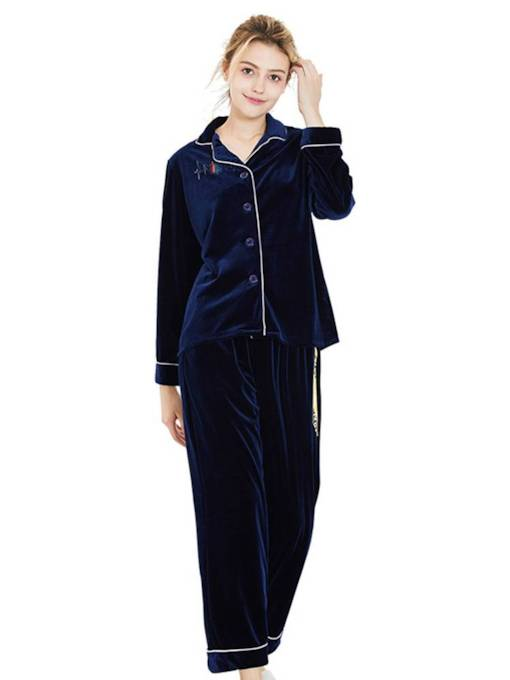 Women's Gold Velvet Lapel Simple Pajamas Set
