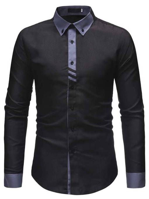 Lapel Slim Color Block Patchwork Men's Shirt