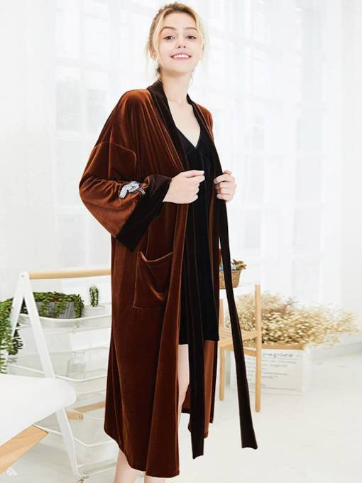Velvet Long Simple Lover Robe for Momen