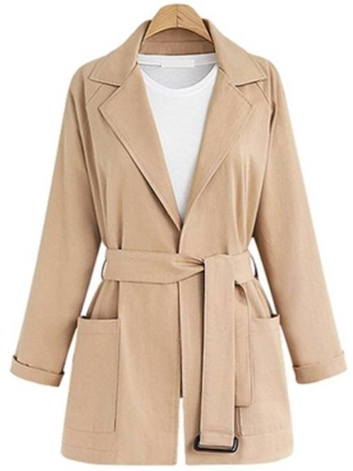 Belt Noched Lapel Double-Pocket Women's Trench Coat