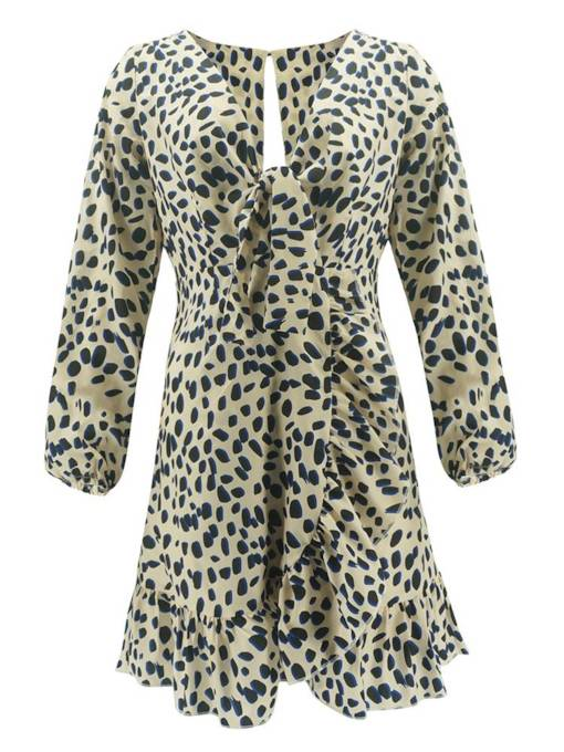 Leopard V Neck Women's Long Sleeve Dress