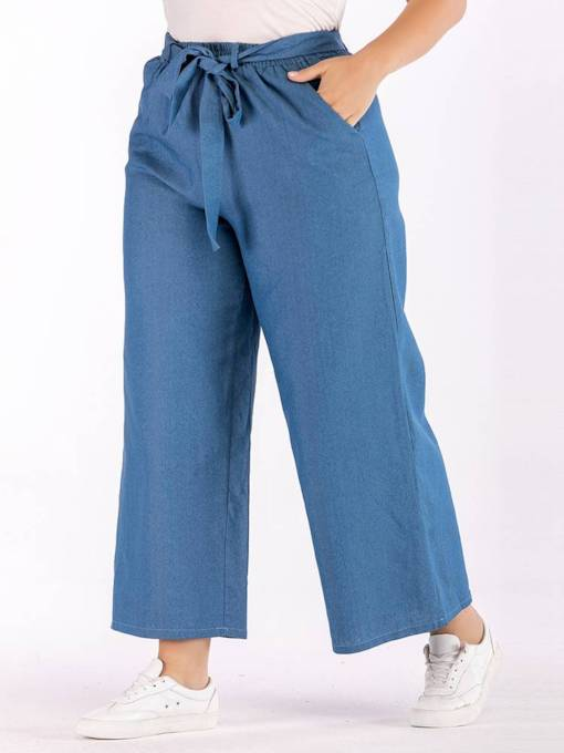 Plus Size Denim Wide Legs Lace-Up Women's Jeans
