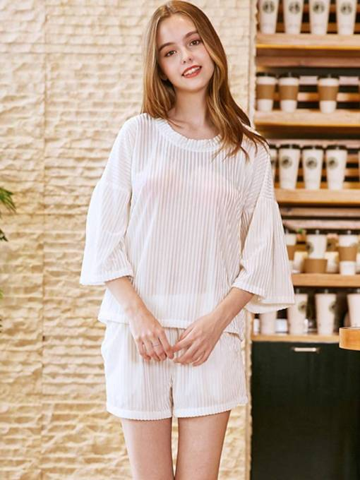 Plain Casual Half Sleeve Shorts Sleepwear