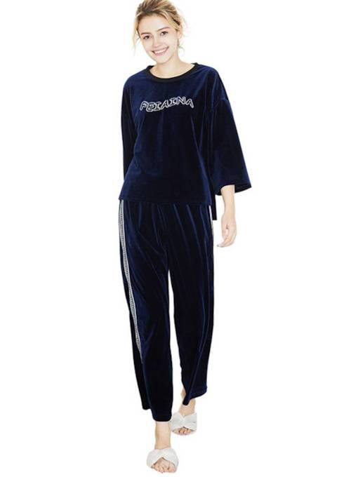 Letter Pullover Casual Loose Long Pajamas Set