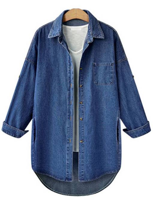Plus Size Letter Print Mid Length Women's Denim Jacket