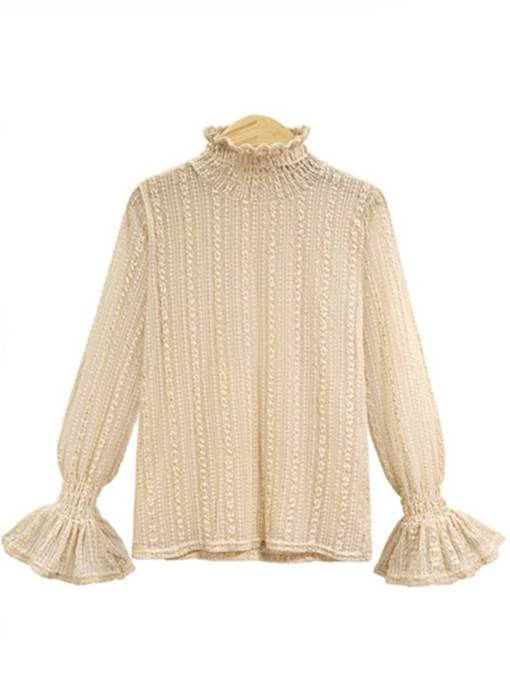 Sheer Lace Patchwork Stand Collar Bell Sleeve Pleated Women's Blouse