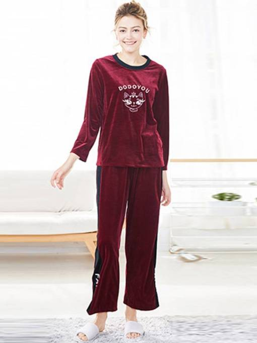 Women's Round Neck Animal Letter Pajamas Set