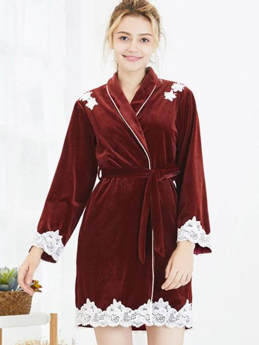 Velvet Lace Long Sleeve Mid-Length Robe for Women