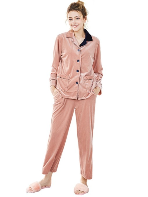 Gold Velvet Long Pocket Pajamas Set