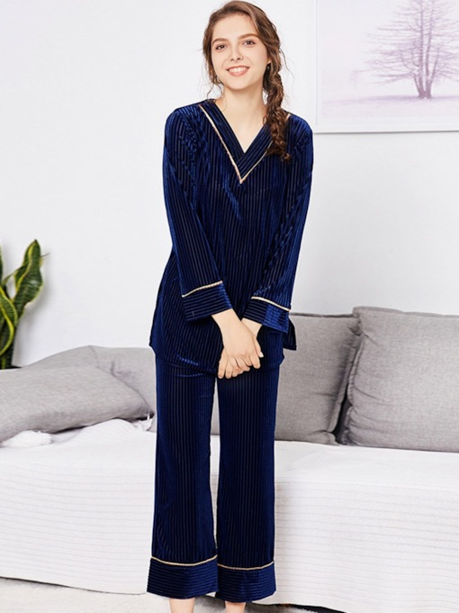 Surround Stripe V-Neck Simple Sleepwear Set