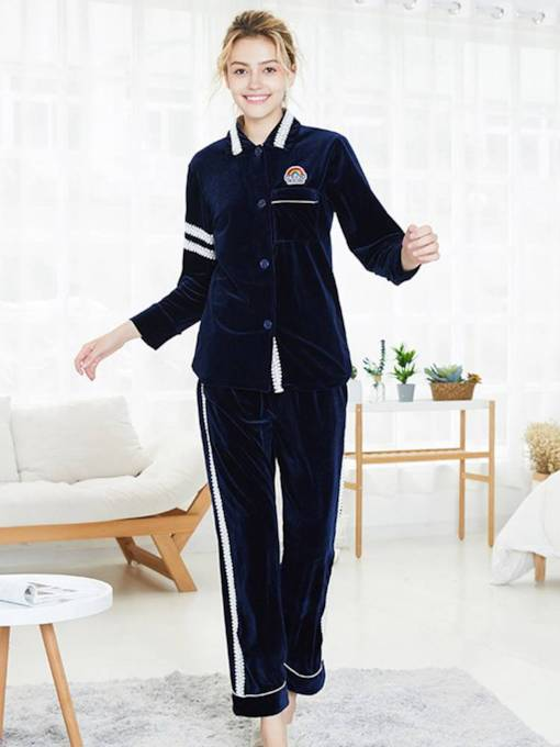 Women's Gold Velvet Print Single-Breasted Pajamas Set