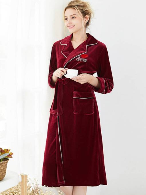 Velvet Pocket Lace-up Long Robe for Women
