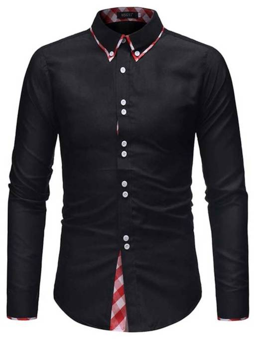 Lapel Plaid Color Block Patchwork Slim Men's Shirt
