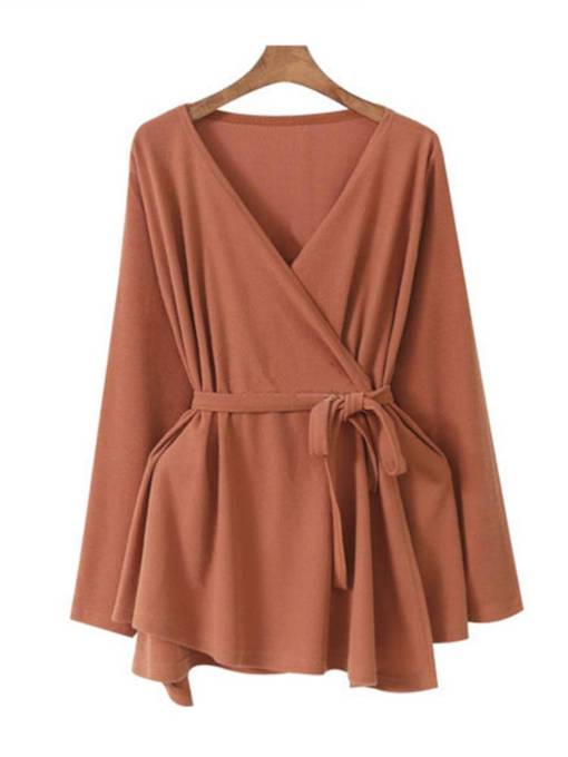 Plain Lace Up Pleated Ruched Women's Cardigan