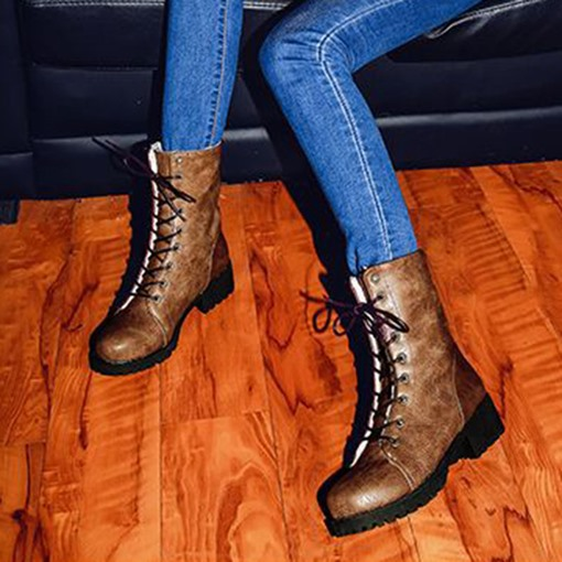 Round Toe Lace-Up Front Platform Classical Martin Boots for Women