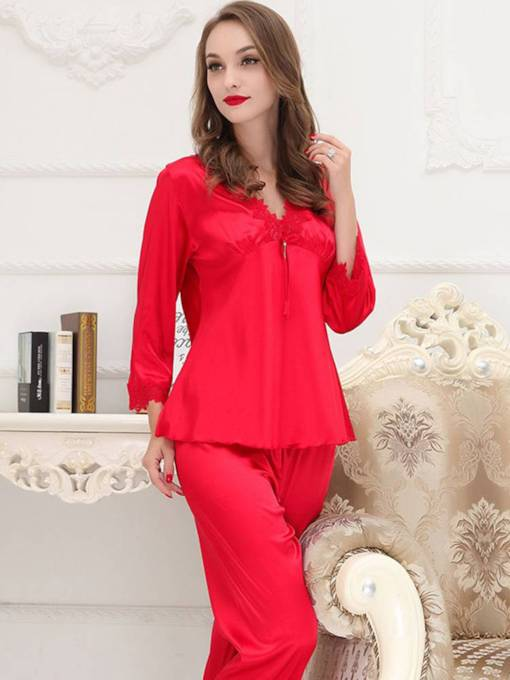 Women's V-Neck Plain Long Sleepwear 2 Pieces