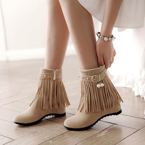 Round Toe Suede Side Zipper Fringe Buckle Elevated Women's Ankle Boots