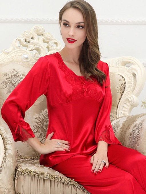 Bowknot Round Neck Mid-Calf Sleepwear 2 Pieces