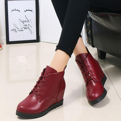 Round Toe Lace-Up Front Thread Elevated Flat Boots for Women